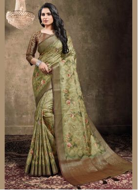 Green Jacquard Digital Print Traditional Saree