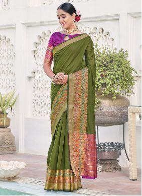 Green Khadi Silk Engagement Silk Saree