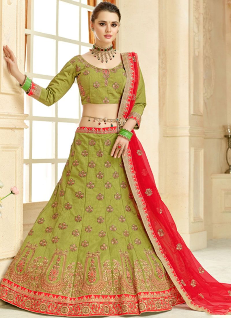 ca4ace15cd Green Lace Malbari Silk Lehenga Choli