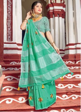 Green Linen Printed Classic Saree