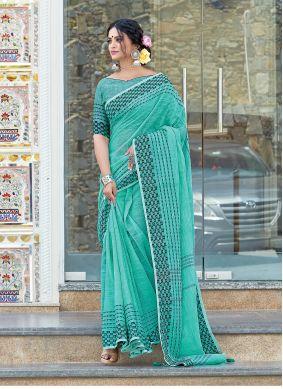 Green Linen Weaving Designer Traditional Saree