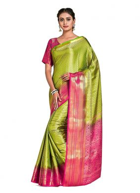 Green Mehndi Art Silk Designer Traditional Saree