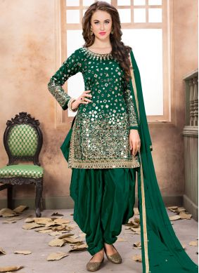 Green Mirror Patiala Salwar Kameez