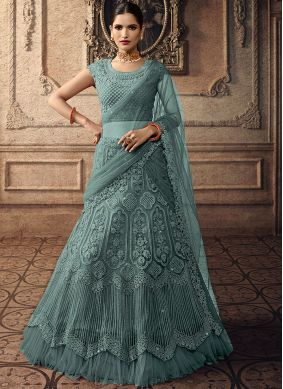 Green Net Embroidered A Line Lehenga Choli