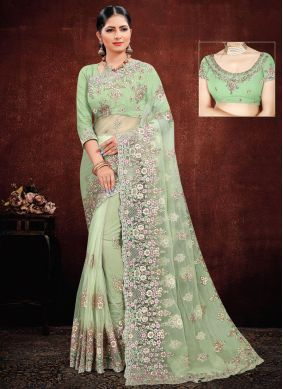 Green Net Embroidered Classic Saree