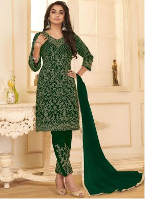 Green Net Pant Style Suit