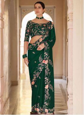 Green Organza Classic Designer Saree