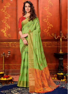 Green Party Art Silk Classic Saree