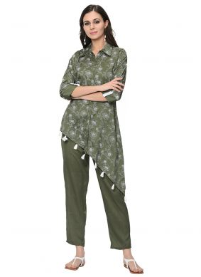 Green Party Casual Kurti