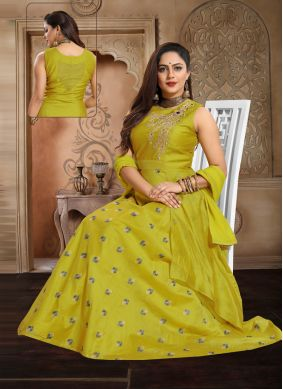 Green Party Chanderi Anarkali Salwar Kameez