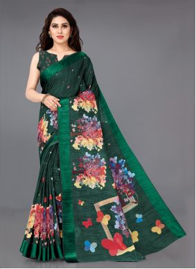 Green Party Cotton Traditional Saree