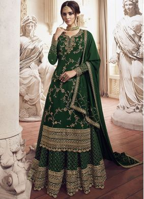 Green Party Georgette Designer Palazzo Suit