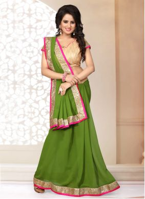 Green Patch Border Faux Georgette Classic Saree
