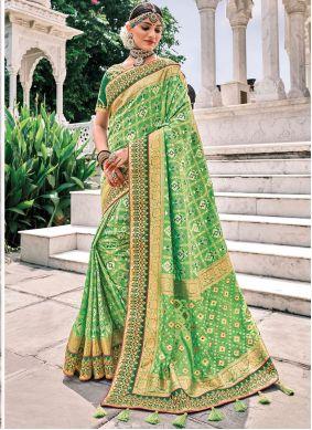 Green Patch Border Silk Trendy Saree