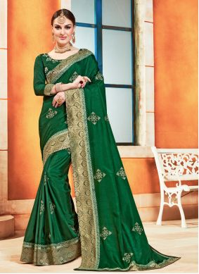 Green Poly Silk Embroidered Traditional Saree