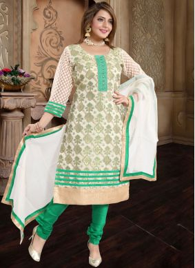 Green Print Churidar Suit