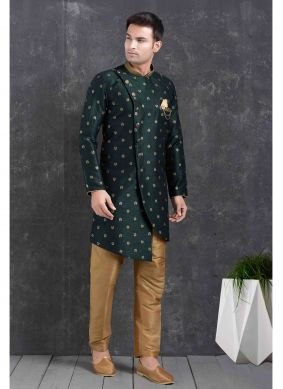 Green Printed Ceremonial Indo Western