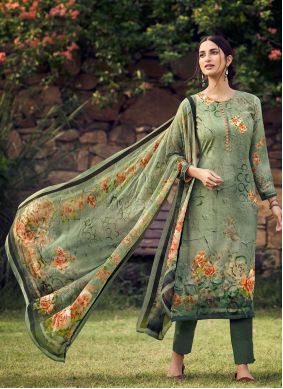 Green Printed Faux Crepe Palazzo Suit