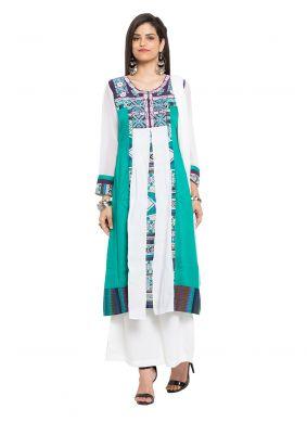 Green Printed Readymade Salwar Kameez