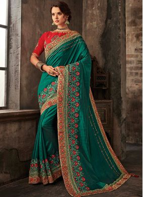 Green Reception Poly Silk Traditional Saree