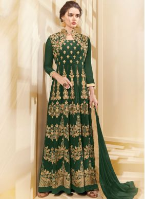 Green Resham Faux Georgette Floor Length Anarkali Suit