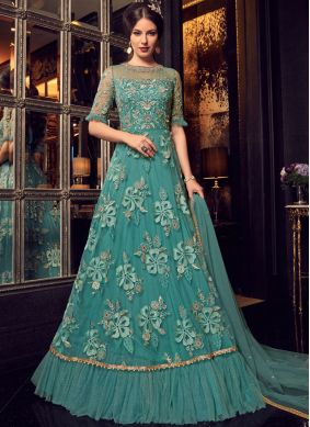 Green Resham Net Floor Length Anarkali Suit