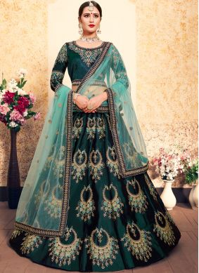 Green Satin Designer Lehenga Choli