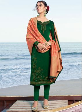 Green Satin Embroidered Salwar Suit