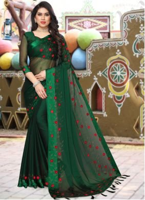 Green Satin Stone Work Saree