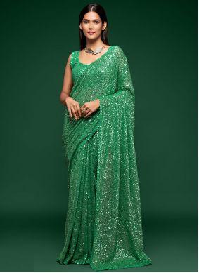 Green Sequins Faux Georgette Classic Designer Saree