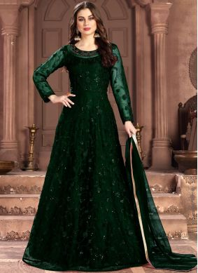 Green Sequins Net Salwar Suit