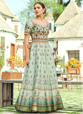 Green Silk Engagement Trendy Gown