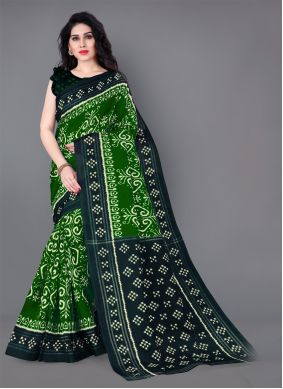 Green Silk Printed Casual Saree