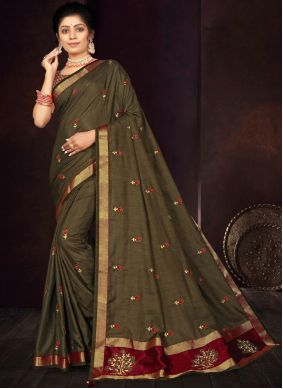 Green Embroidered Silk Traditional Saree