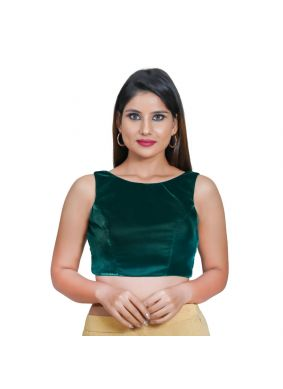 Green Velvet Plain Blouse