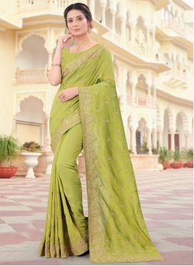 Green Vichitra Silk Traditional Designer Saree