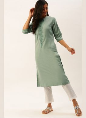 Green Viscose Casual Kurti