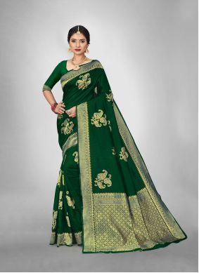 Green Weaving Art Silk Saree