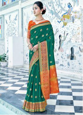 Green Weaving Cotton Traditional Saree