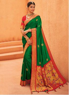 Green Weaving Designer Saree