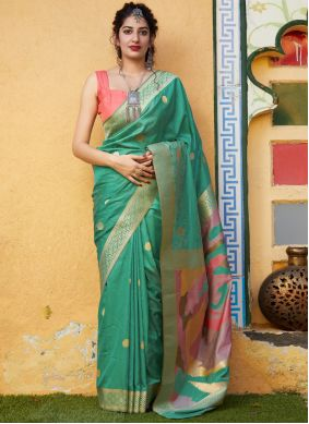 Green Weaving Trendy Saree