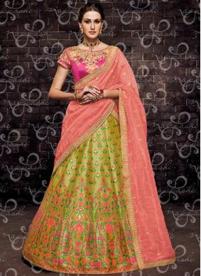 Green Zari Trendy Lehenga Choli