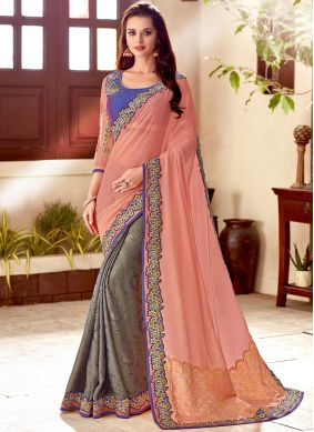 Grey and Peach Art Silk Wedding Designer Half N Half Saree