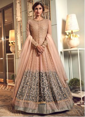 Grey and Peach Color Trendy Long Length Anarkali Suit
