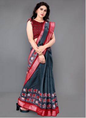 Grey and Red Cotton Printed Saree