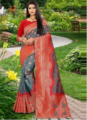 Grey and Red Designer Traditional Saree