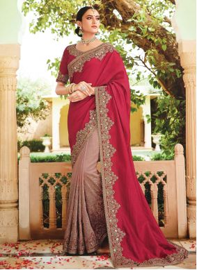 Grey and Red Embroidered Contemporary Saree