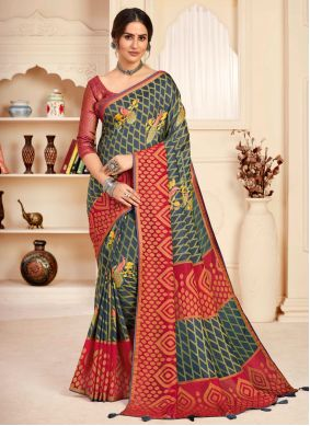Grey and Red Festival Traditional Designer Saree