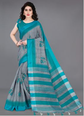 Grey and Turquoise Printed Cotton Printed Saree