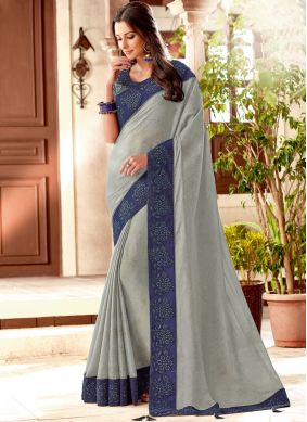 Grey Art Silk Designer Traditional Saree